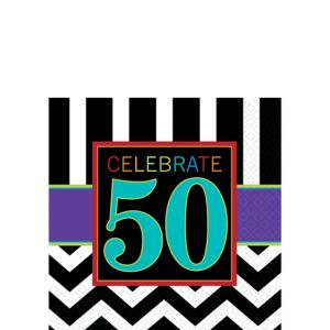 Celebrate 50th Birthday Beverage Napkins 16ct