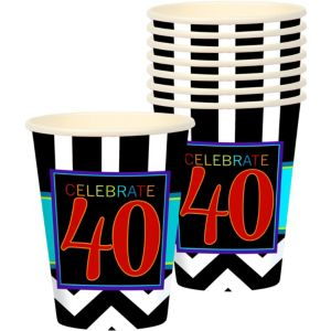 Celebrate 40th Birthday Cups 8ct
