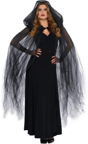 Dark Temptress Black Hooded Cape
