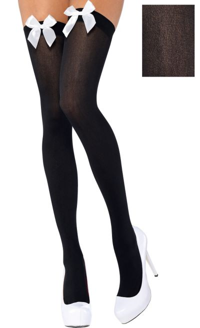 Adult Black Thigh-High Stockings with White Bows