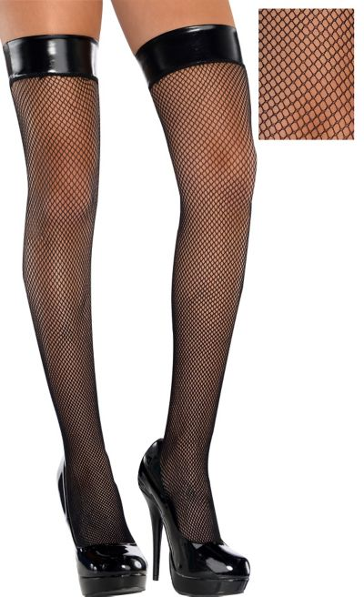 Adult Leather Top Fishnet Thigh-High Stockings