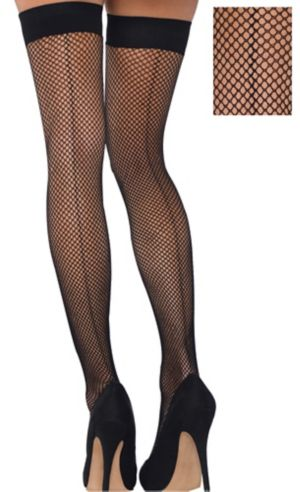 Adult Back Seam Fishnet Thigh-High Stockings