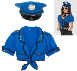 Adult Dreamy Deputy Cop Costume Accessory Kit 4pc