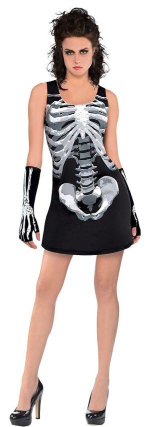 Adult Black & Bone Tank Dress - Skeleton