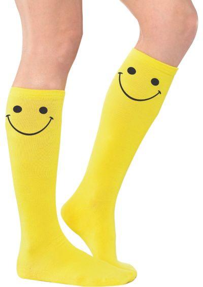 Smiley Yellow Knee Socks