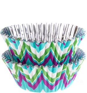 Wilton Green & Teal Chevron Foil Baking Cups 36ct