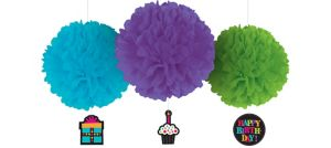 Happy Birthday Fluffy Decorations Deluxe 3ct - Rainbow Dot