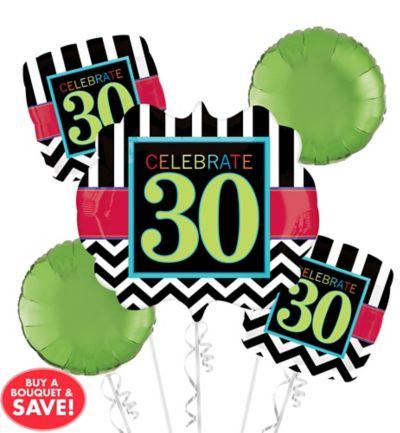 30th Birthday Balloon Bouquet - Giant Chevron