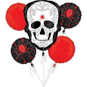 Spider Skull Balloon Bouquet 5pc