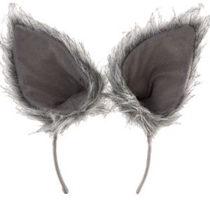 Oversized Gray Wolf Ears Deluxe