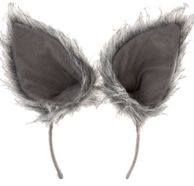 Oversized Gray Wolf Ears Deluxe Party City