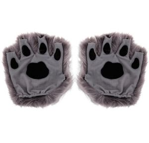 Gray Paw Fingerless Gloves