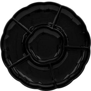Black Plastic Scalloped Sectional Platter