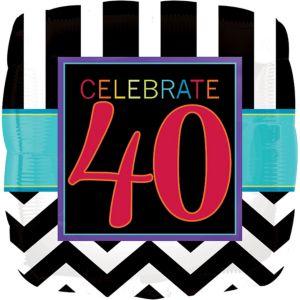 40th Birthday Balloon - Square Chevron