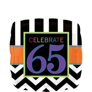 65th Birthday Balloon - Square Chevron