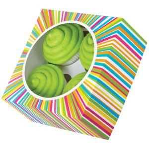 Multicolor Stripe Cupcake Boxes 3ct