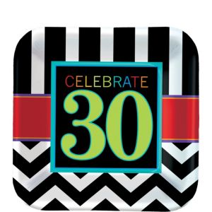 Celebrate 30th Birthday Dessert Plates 8ct