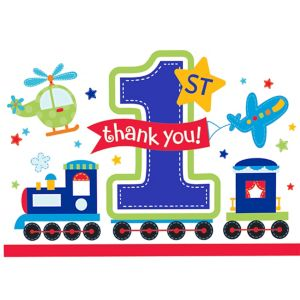 All Aboard 1st Birthday Thank You Cards 8ct