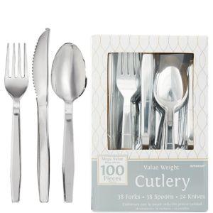 Silver Plastic Cutlery Set 100ct