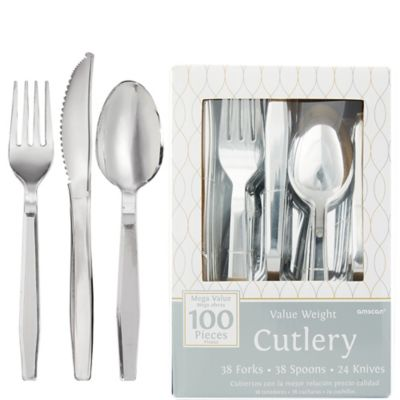 Silver Look Cutlery 100ct
