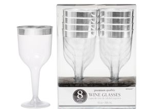 CLEAR Silver Trimmed Premium Plastic Wine Glasses 8ct