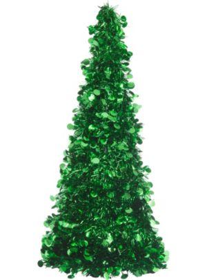 3D Green Tinsel Christmas Tree
