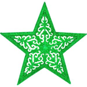 Glitter Green Filigree Star