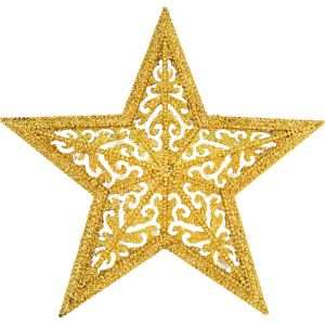 Glitter Gold Filigree Star