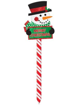 Glitter Snowman Merry Christmas Yard Sign