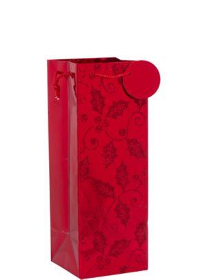 Red Glitter Holly Bottle Bag