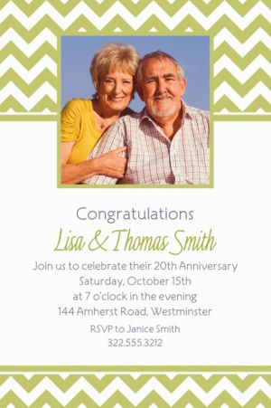 Custom Leaf Green Chevron Photo Invitations