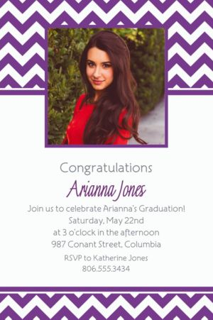 Custom Purple Chevron Photo Invitations