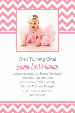 Custom Pink Chevron Photo Invitations