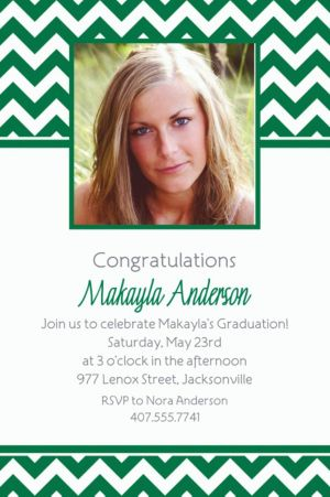 Custom Festive Green Chevron Photo Invitations