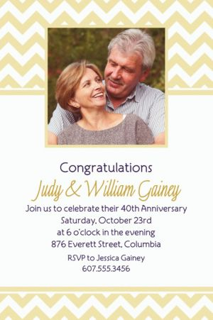 Custom Vanilla Chevron Photo Invitations