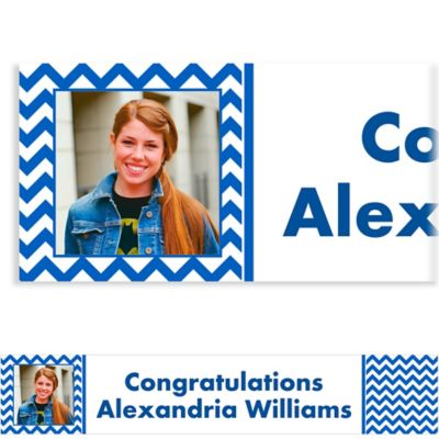 Royal Blue Chevron Custom Photo Banner