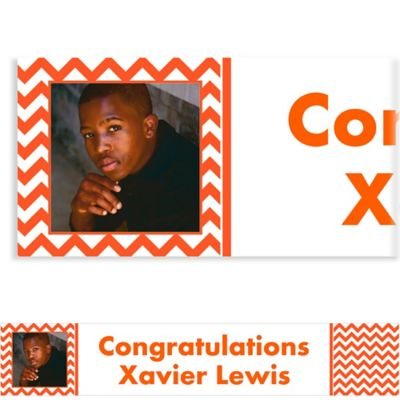 Orange Chevron Custom Photo Banner