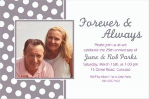 Custom Silver Polka Dot Photo Invitations