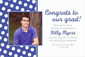 Custom Royal Blue Polka Dot Photo Invitations