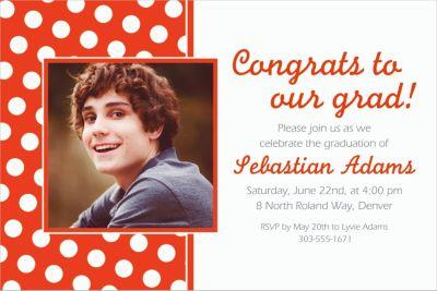 Custom Orange Polka Dot Photo Invitations