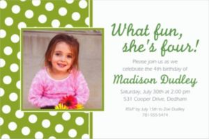 Custom Kiwi Polka Dot Photo Invitations