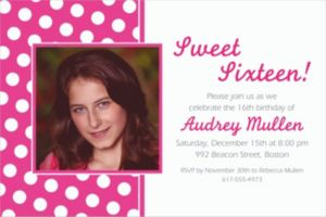 Custom Bright Pink Polka Dot Photo Invitations