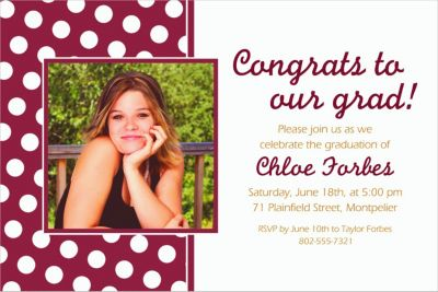 Berry Polka Dot Custom Photo Invitation