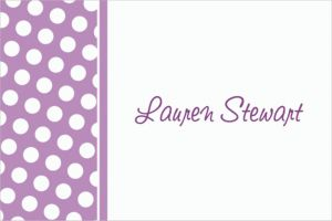 Custom Lavender Polka Dot Thank You Notes