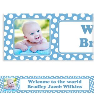 Custom Pastel Blue Polka Dot Photo Banner 6ft