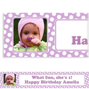 Custom Lavender Polka Dot Photo Banner 6ft