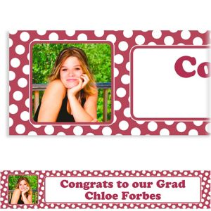 Custom Berry Polka Dot Photo Banner 6ft