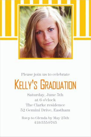 Custom Sunshine Yellow Stripe Photo Invitations