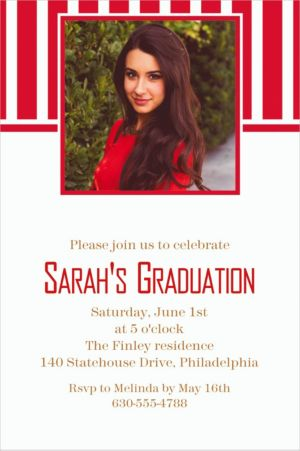 Custom Red Stripe Photo Invitations
