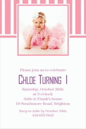 Custom Pink Stripe Photo Invitations